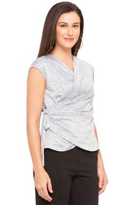 Womens Surplice Neck Slub Top