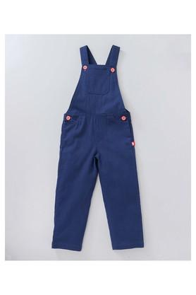 Girls Regular Fit Round Neck Printed Top and Dungarees Set