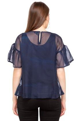 Womens Round Neck Ombre Top