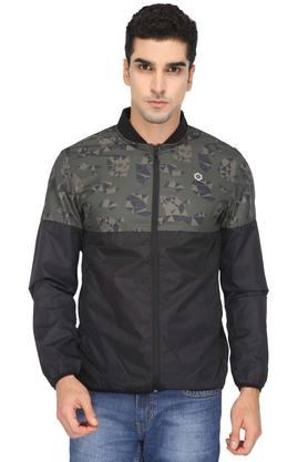 JACK AND JONES Mens Mao Collar Printed Jacket
