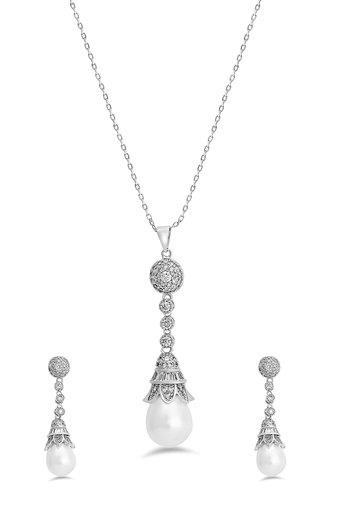Womens Silver Plated Pendant Set
