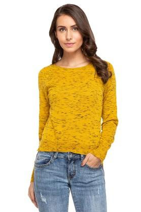 DEAL JEANSWomens Round Neck Printed Sweater