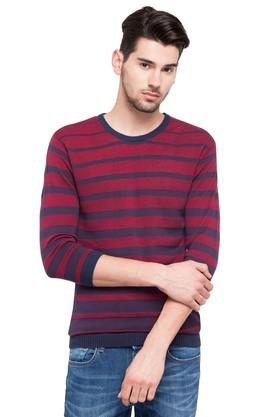 Mens Round Neck Stripe Sweater