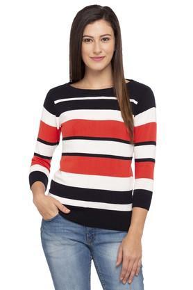 LIFEWomens Round Neck Striped Sweater