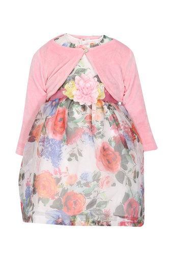 Girls Round Neck Printed Layered Dress with Shrug
