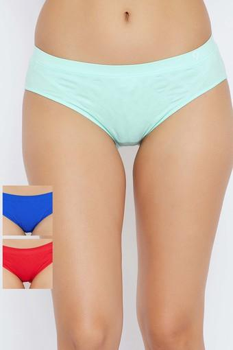Womens Mid Waist Checked Hipster Briefs - Pack Of 3
