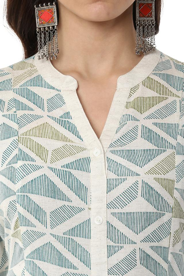 Womens Mandarin Collar Printed Kurta