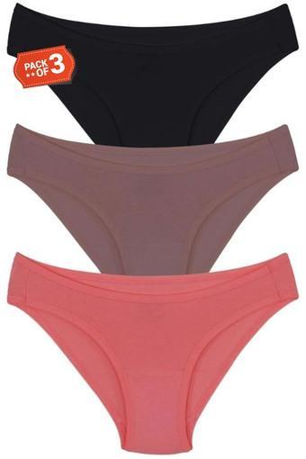 Womens Solid Bikini Briefs - Pack of 3