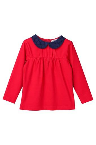 Girls Peter Pan Collar Solid Top