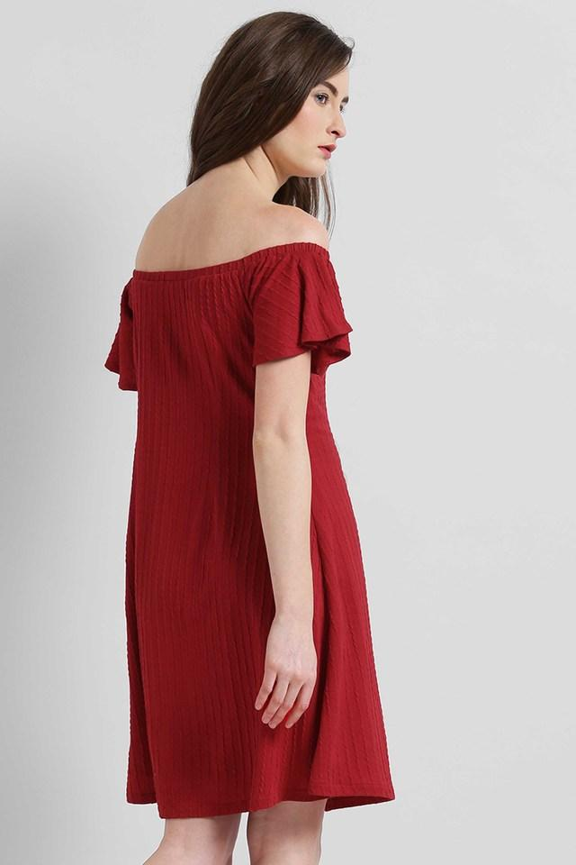 Womens Off Shoulder Solid Flared Dress