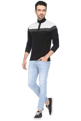Mens High Neck Colour Block T-Shirt