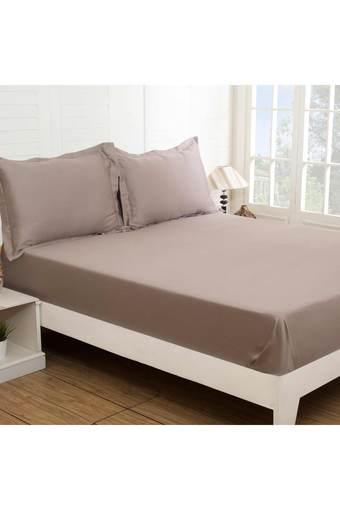 Colorart Cotton Satin Solid King Bed Sheet with 2 Pillow Covers