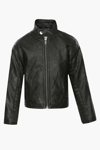 Boys Mandarin Neck Solid Jacket