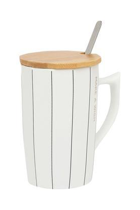 IVY Striped Mug With Lid And Spoon