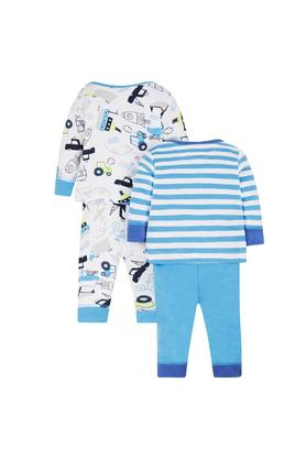 Boys Envelope Neck Printed and Striped Top and Pants - Pack Of 2