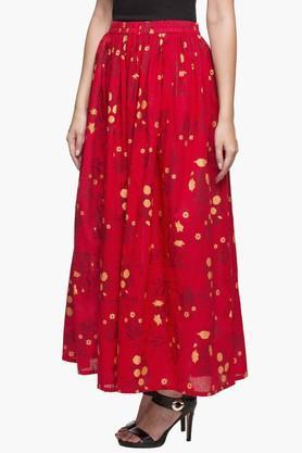 Womens Printed Long Flared Skirt