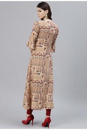 Women Rayon Printed Aline Double LayeWomen Style Kurta
