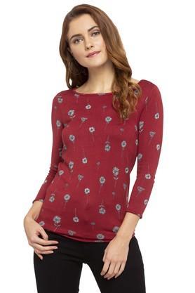 ALLEN SOLLYWomens Round Neck Floral Print Pullover
