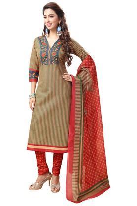 ISHINWomens V- Neck Striped Dress Material