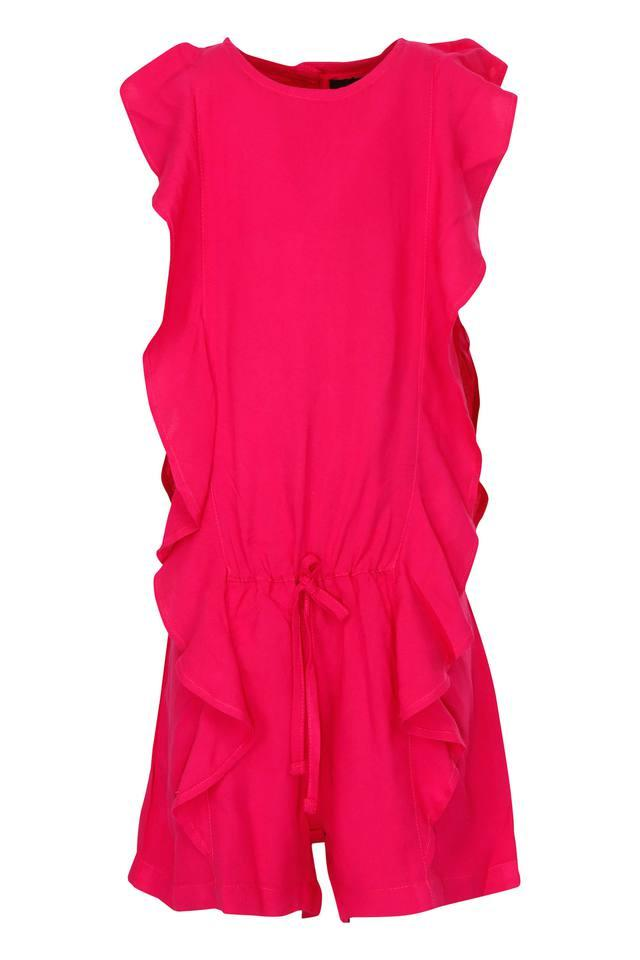 Girls Round Neck Solid Jumpsuit