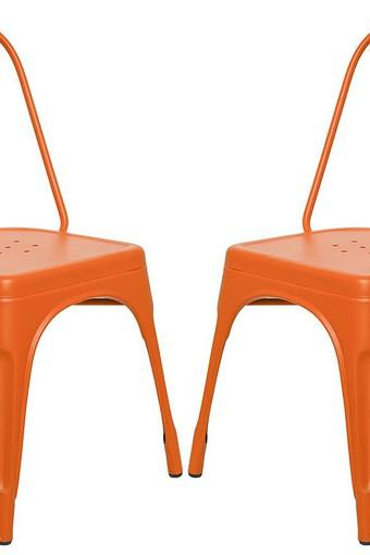 Orange Stylo Chairs Set of 2