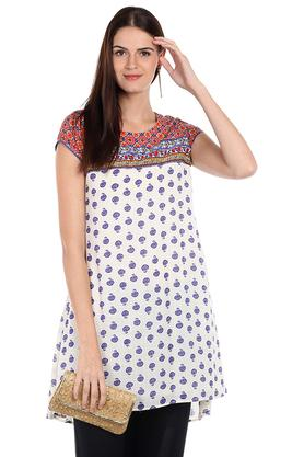 FUSION BEATS Womens Round Neck Printed Kurta - 202974625
