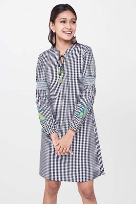 GLOBAL DESI Womens Tie Up Neck Checked A-Line Dress