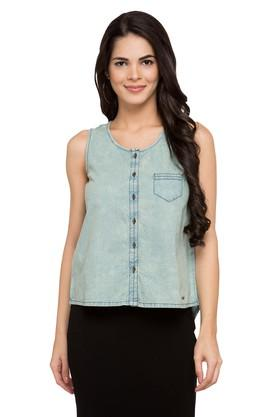 Womens Round Neck Washed Casual Shirt