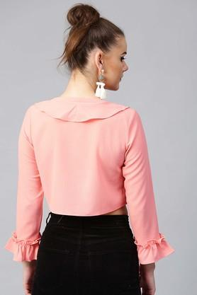 Womens Ruffled Neck Solid Crop Top