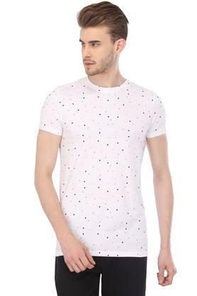 Mens Round Neck Polka dots T-Shirt