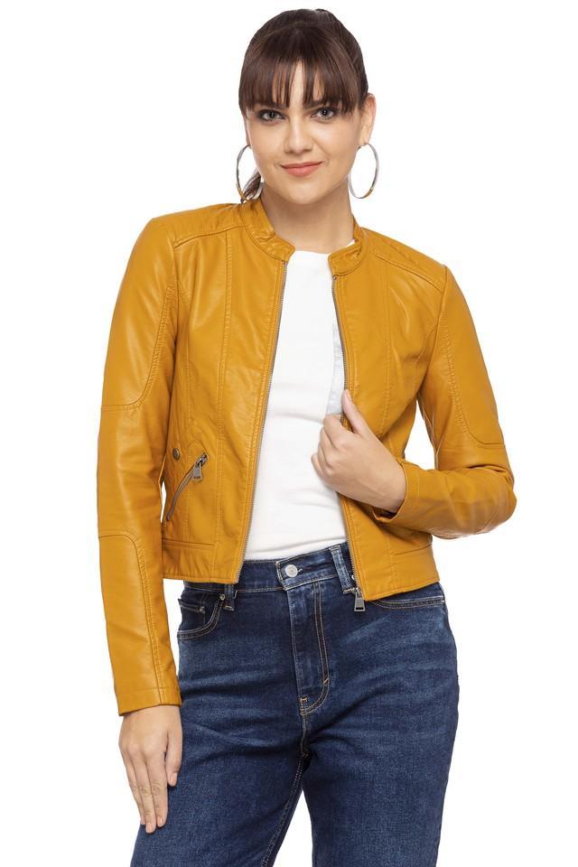 Womens Mandarin Neck Solid Jacket