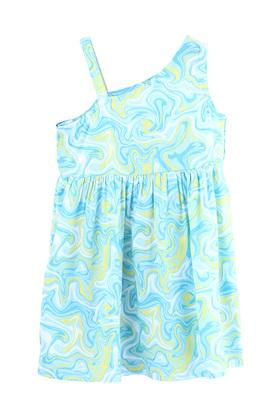 Girls One Shoulder Neck Marble Print Front Bow Flared Dress