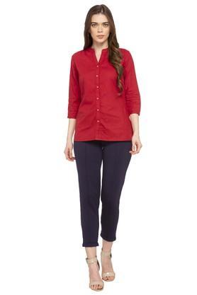 Womens Mandarin Collar Solid Formal Shirt