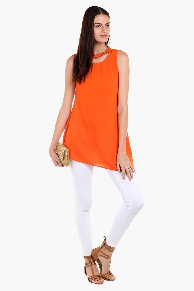 Womens Band Neck Solid Tunic