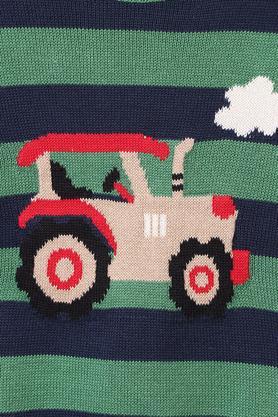 Boys Round Neck Striped Sweater