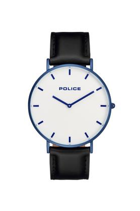 Mens White Dial Leather Analogue Watch - PL15367JSBL01