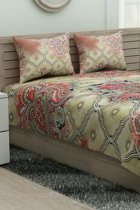 SPACESEthnic Rangana Printed Double Bed Sheet With Pillow Cover - 204761229_9557