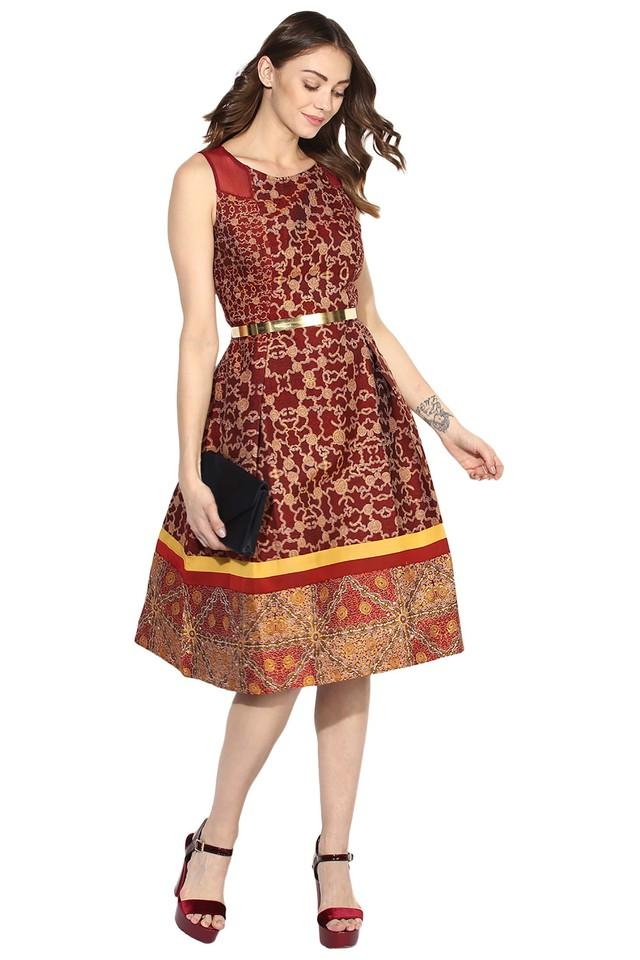 Womens Round Neck Printed Skater Dress