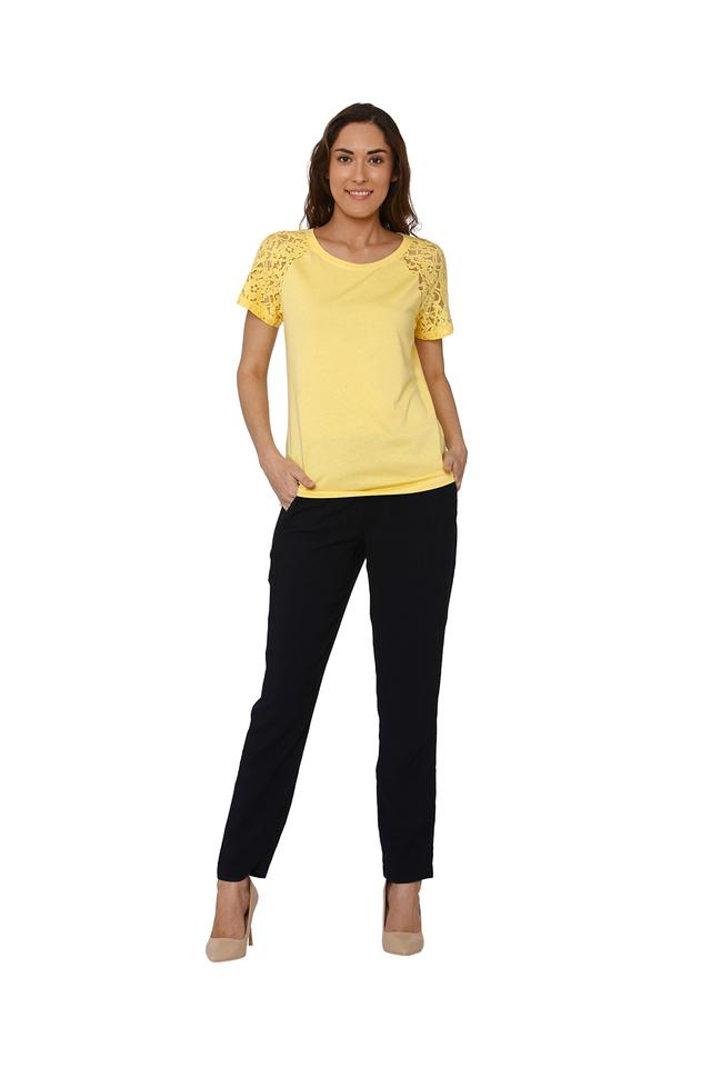 Womens Round Neck Lace T-shirt