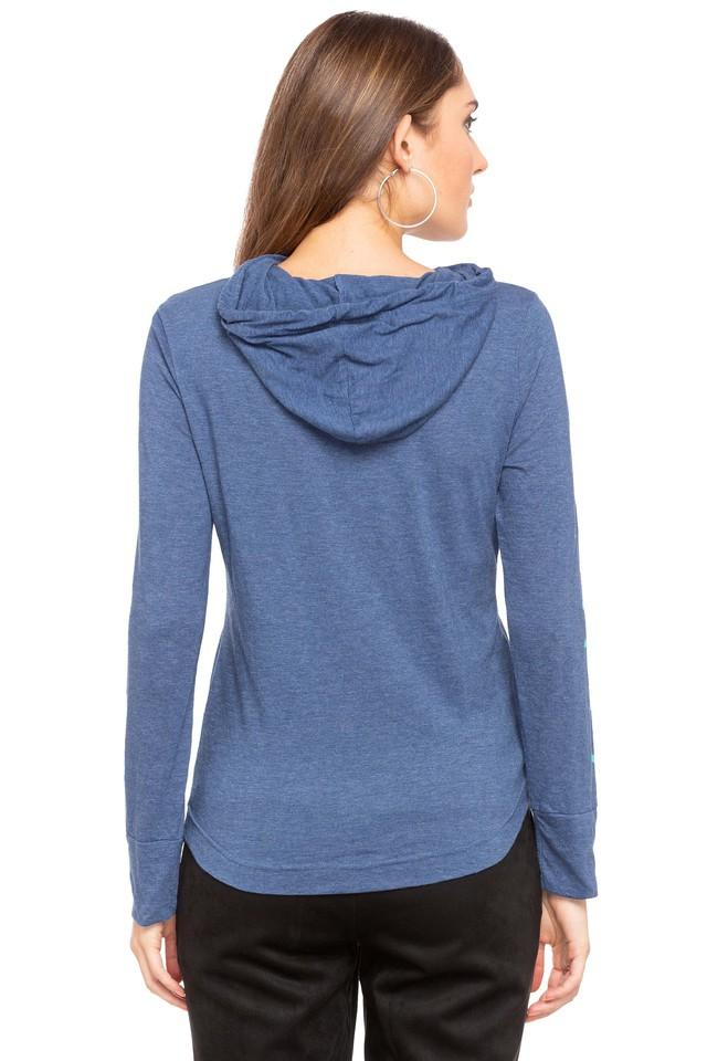 Womens Hooded Neck Slub Pullover