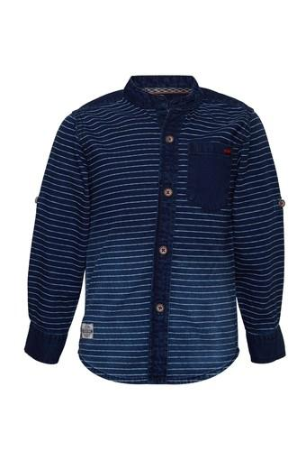Boys Regular Fit Mandarin Neck Stripe Shirt