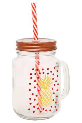 IVY Round Printed Mason Jar With Lid And Straw