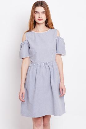 Womens Striped Knee Length Dress