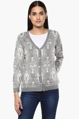 ONER Womens V-Neck Printed Cardigan