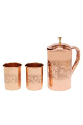 IVY Mahogany Jug With Glass - Set Of 3