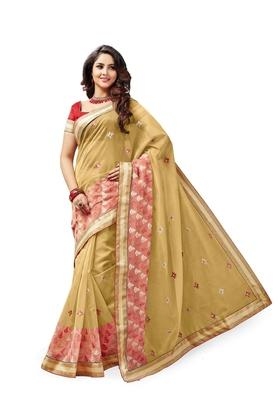 ASHIKA Womens Embroidered Saree With Blouse Piece - 204577033_7086