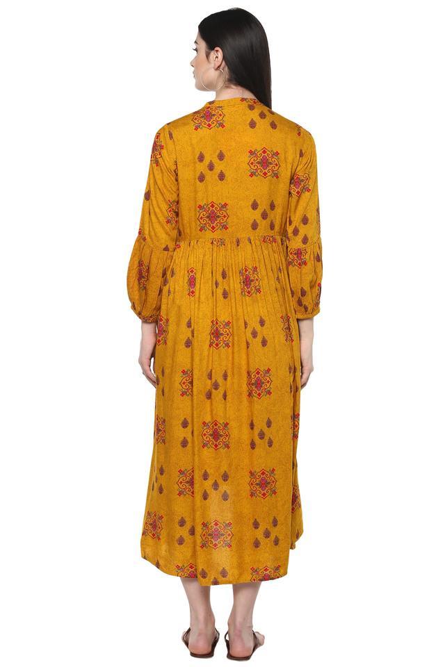 Womens Mandarin Collar Printed Flare High Low Dress