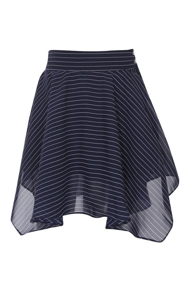 Girls Striped Asymmetrical Skirt