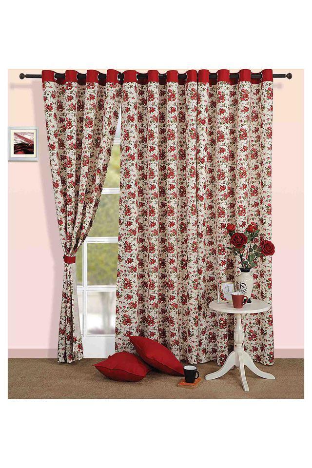 Floral Print Long Door Curtain