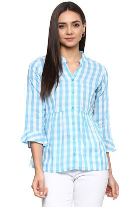 Womens Mandarin Collar Checked Shirt